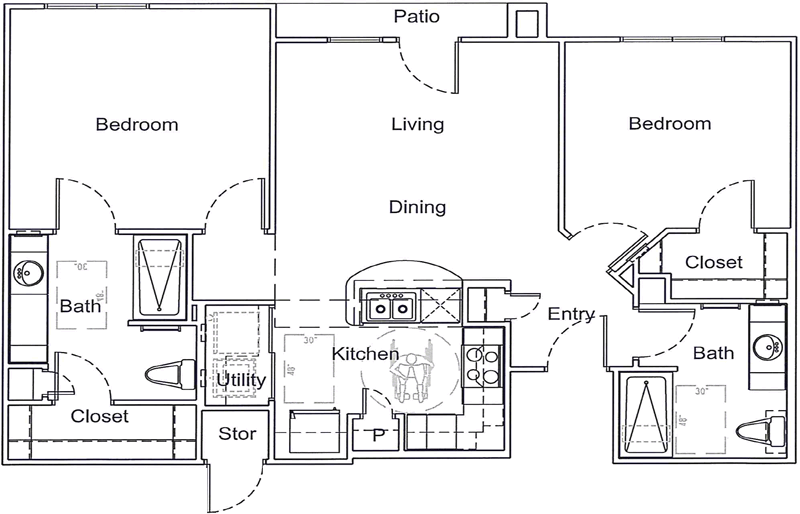 B1 - Two Bedroom / Two Bath - 963 Sq. Ft.*