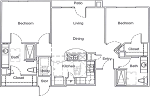 B1 - Two Bedroom / Two Bath - 963 Sq.Ft.*